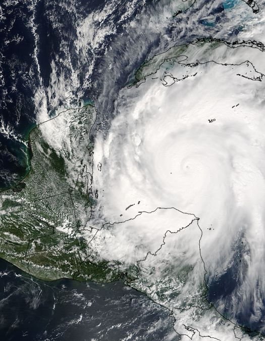 Watch out for Wilma - the Atlantic's most powerful recorded hurricane ever.  Here is a high-resolution satellite image of Hurricane Wilma over the Caribbean Sea. The image was taken from Satellite Terra on October 19, 2005.