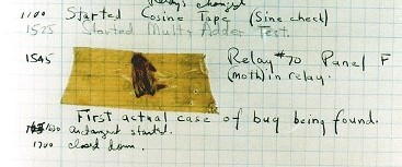 Moth found trapped between points at Relay # 70, Panel F, of the Mark II Aiken Relay Calculator while it was being tested at Harvard University, 9 September 1945 (or 1947).